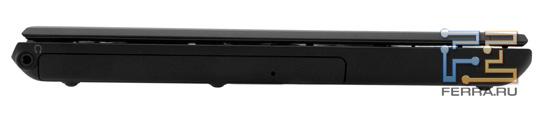 Левый торец Sony VAIO S: аудио разъем, оптический привод