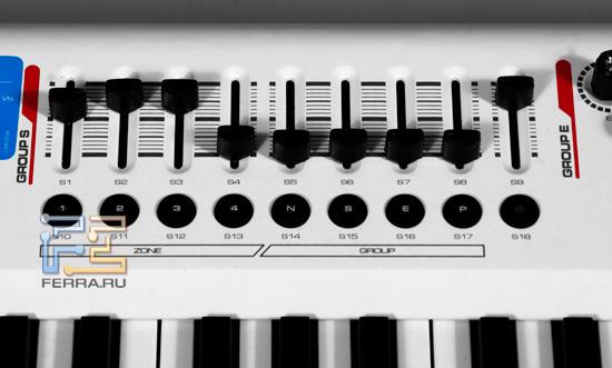 Секция фейдеров M-Audio Axiom PRO 49