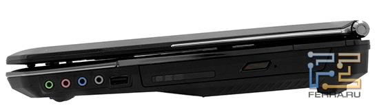 Правый торец MSI GT680: аудио разъемы, USB, оптический привод