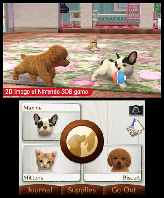 Кошак демонстративно отвернулся - игры низших созданий не для него. Но в Nintendogs + Cats 3D это редкость