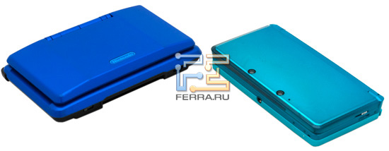 Nintendo DS fat (слева) и Nintendo 3DS (справа)