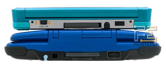 Верхний торец Nintendo 3DS и Nintendo DS. Опять же, обратите внимание на габариты консолей