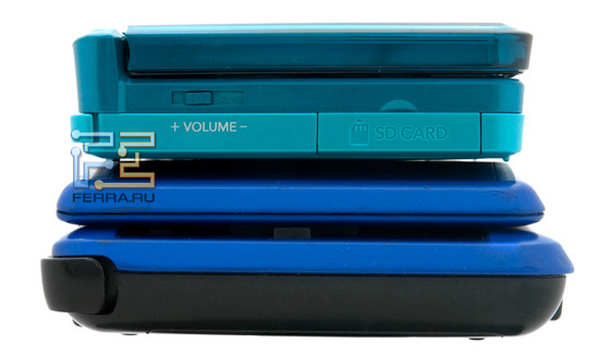 Nintendo 3DS и Nintendo DS, вид слева