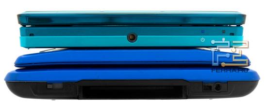Передняя грань консолей Nintendo 3DS и DS. Обратите внимание на новинку - она специально собрана из пластика трех разных оттенков одного цвета
