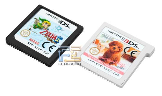 На картриджах Nintendo 3DS (справа) есть небольшой выступ. В новую консоль старые картриджи вставлять можно, а в DS по ошибке новый картридж не установишь