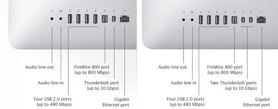 Разъемы iMac 21,5 и iMac 27