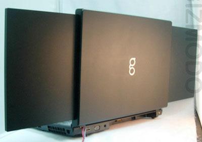 15,4-дюймовый ноутбук gScreen с двумя экранами. Облик сзади