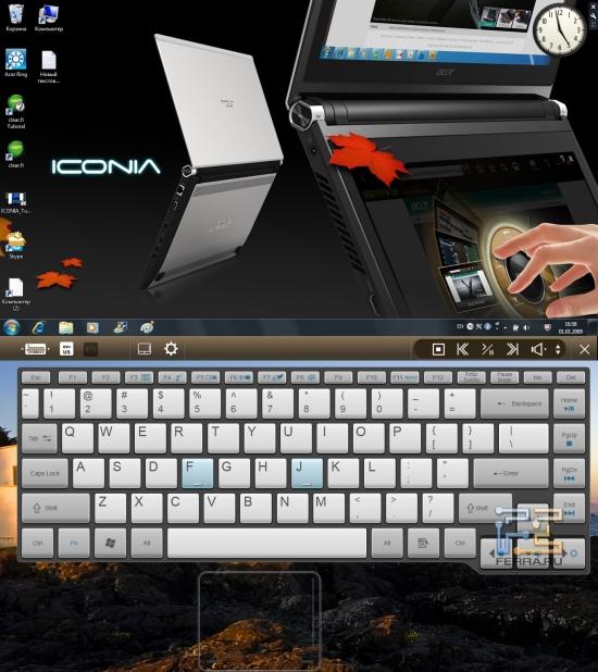 Экранная клавиатура Acer Iconia с прозрачным фоном