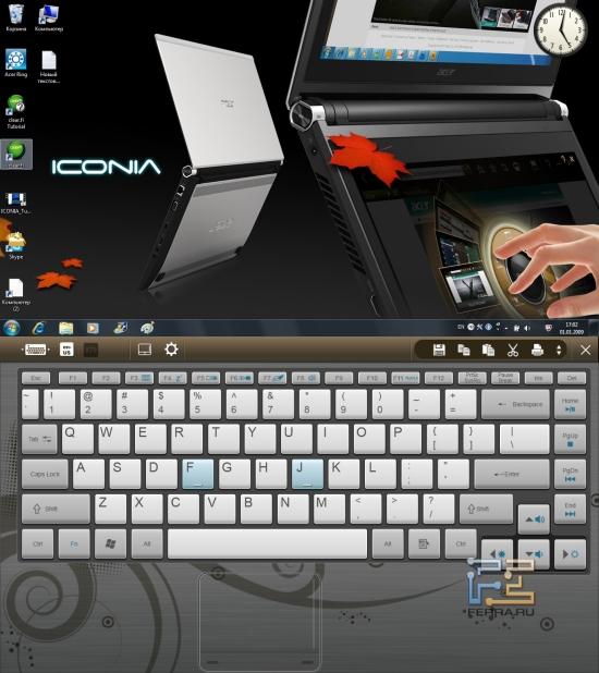 Экранная клавиатура и панель для работы с буфером обмена на Acer Iconia