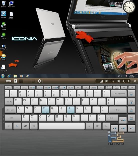 Экранная клавиатура Acer Iconia с отключенным тачпадом