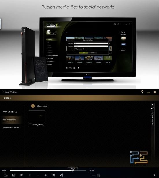 Публикация видеофайлов сквозь TouchVideo на Acer Iconia