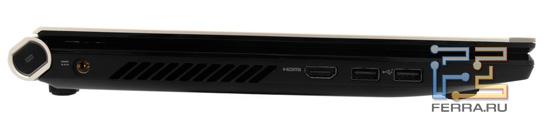 Левый торец Acer Iconia: разъем питания, HDMI, два USB