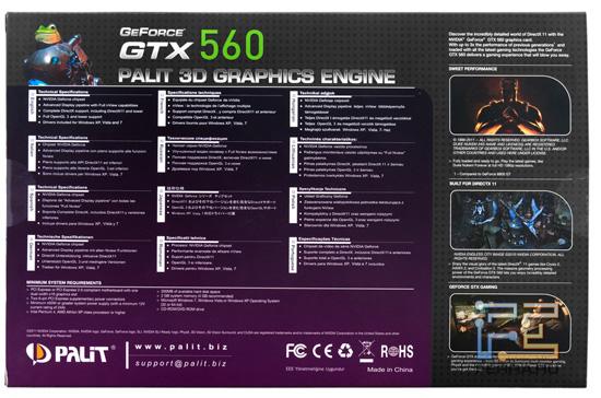 Информация с обратной стороны упаковки Palit GeForce GTX 560 2048 MB