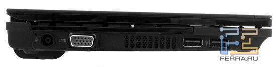 Левая грань HP Mini 5103: разъем питания, D-SUB, два USB