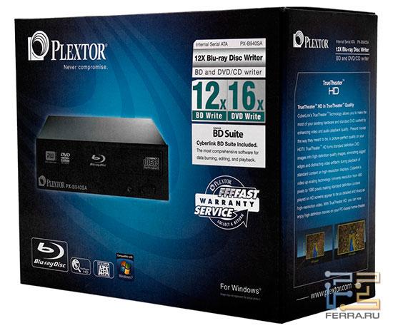 Коробка с Plextor PX-B940SA призвана привлечь к себе внимание покупателя
