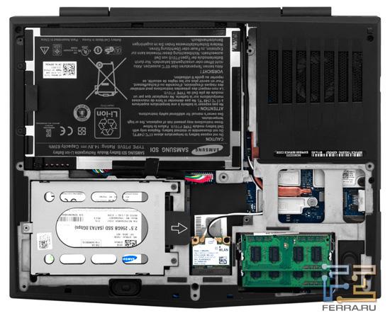 Внутреннее устройство Dell Alienware M11x