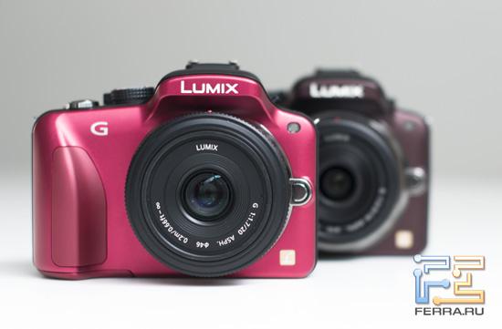 Фронтальный вид Panasonic Lumix G3 в красном и бордовом цвете