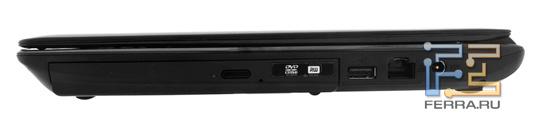 Правый торец ASUS U30SD: оптический привод, USB, RJ-45, разъем питания
