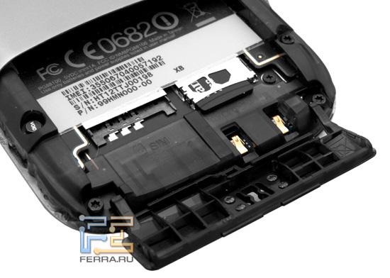 Слоты для SIM-карты и microSD-флэшки под аккумуляторной крышкой HTC Desire S