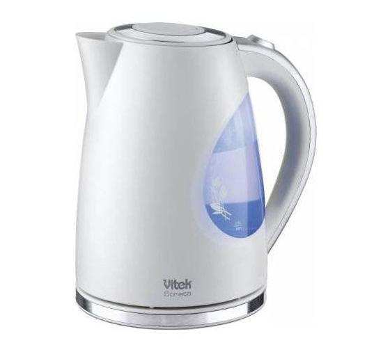 Чайник Vitek VT-1147 обладает красивой голубой подсветкой, включающейся в момент нагрева