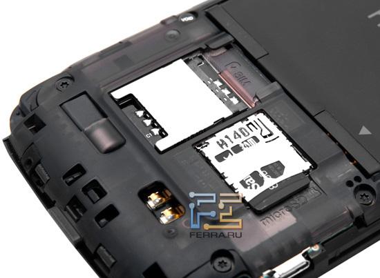 Слоты для карт SIM и microSD на HTC Sensation