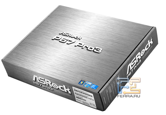 Коробка ASRock P67 Pro3 похожа на металлическую, но это простой картон
