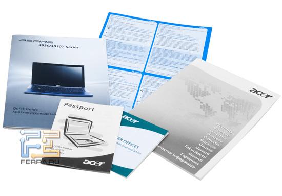 Комплект документации Acer Aspire 4830TG