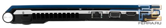 Левый торец Acer Aspire 4830TG: Kensington Lock, RJ-45, D-SUB, HDMI, USB