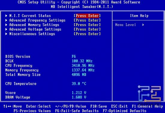 BIOS Setup материнской платы Gigabyte GA-Z68X-UD4-B3