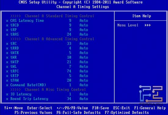 Тайминги памяти BIOS Setup материнской платы Gigabyte GA-Z68X-UD4-B3