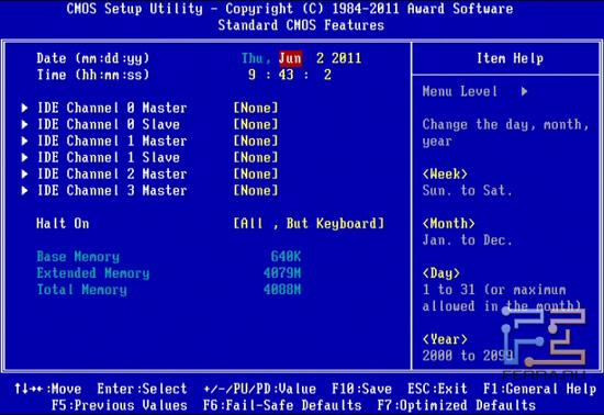 Standard CMOS Features BIOS Setup материнской платы Gigabyte GA-Z68X-UD4-B3