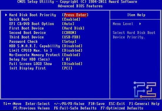 Advanced BIOS Features материнской платы Gigabyte GA-Z68X-UD4-B3