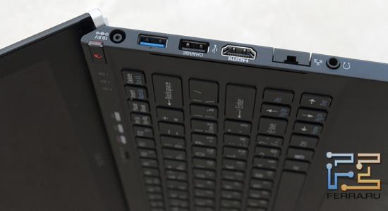 ������ ����� Sony VAIO Z: ������ �������, USB 3.0/Light Peak, USB 2.0, HDMI, RJ-45, ����� �����