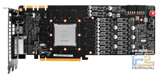 Печатная плата ASUS Matrix GTX 580, вид спереди
