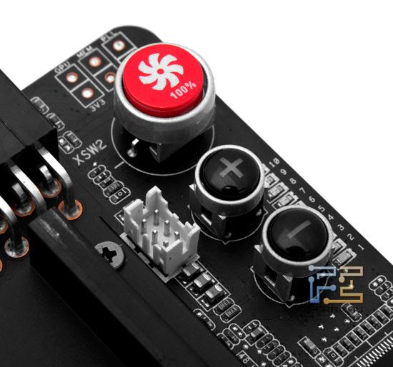 ASUS Matrix GTX 580, кнопки управления напряжением и вентиляторами