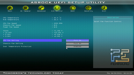 Меню H/W Monitor BIOS ASRock H61M-U3S3
