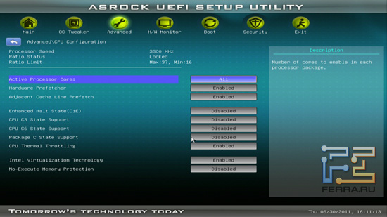 Настройки CPU BIOS ASRock H61M-U3S3