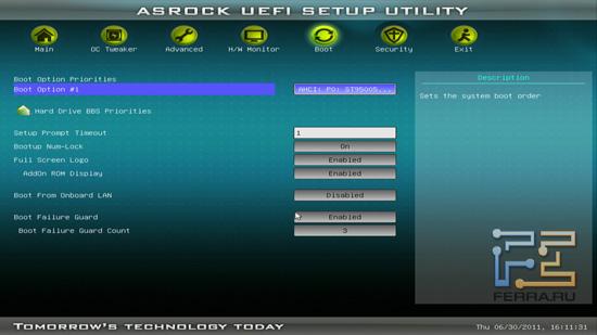 Меню Boot BIOS ASRock H61M-U3S3