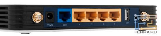 Порт WAN для подключения к домовой сети или ADSL-модему и порты LAN - разного цвета