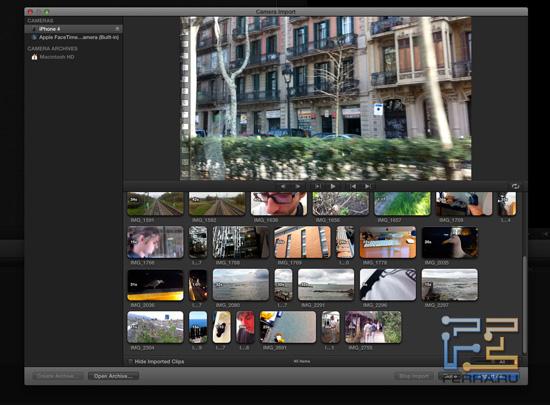 Final Cut Pro X - импорт видеофайлов с iPhone