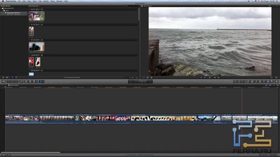 Вот так выглядит интерфейс Final Cut Pro X - лаконично и стильно