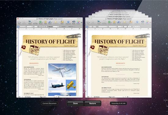 Автосохранении и Версии в Mac OS X Lion
