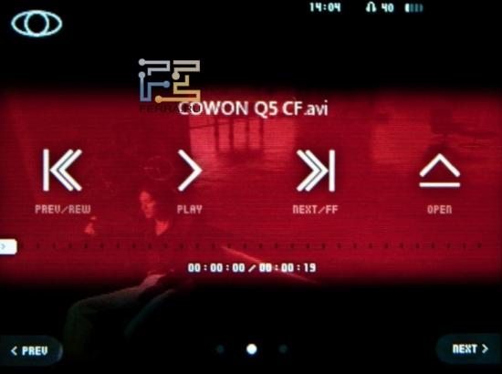 Проигрывание видео в Cowon C2