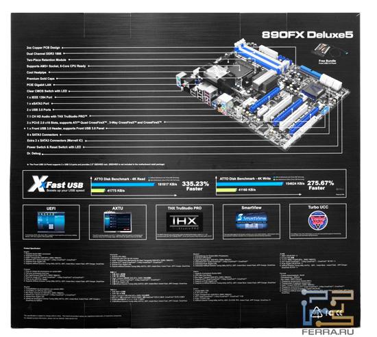 Упаковка материнской платы ASRock 890FX Deluxe5