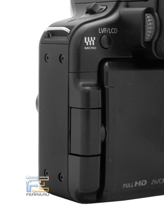 Шарнирный агрегат позволяет крутить экран Lumix G3 в двух плоскостях