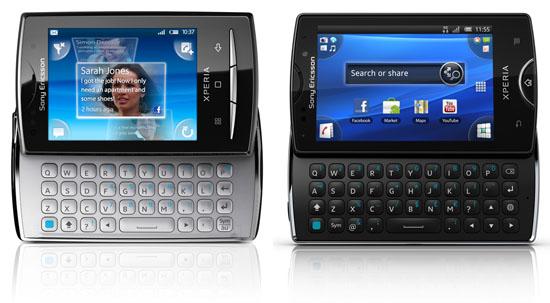 Sony Ericsson Xperia X10 mini pro (слева) и Sony Ericsson Xperia mini pro