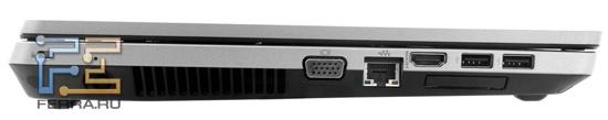 Левый торец HP ProBook 4530s: Kensington Lock, разъем питания, D-SUB, RJ-45, HDMI, два USB, ExpressCard/34