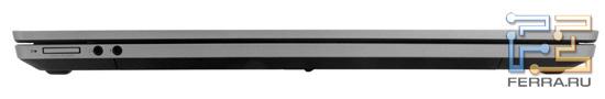 Передний торец HP ProBook 4730s: аудио разъемы, карт-ридер