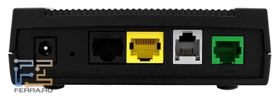 Для наглядности разные порты имеют разные цвета: желтый для локальной сети, черный для подключения к интернет-шлюзу (ADSL-модему или домовой сети), белый для телефона, зеленый для телефонной линии