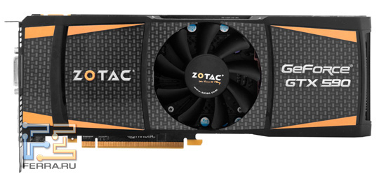 Мощная система охлаждения видеокарты GeForce GTX 590